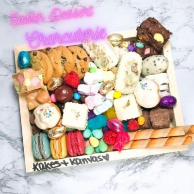 Easter dessert charcuterie board eggs treats chocolate cake