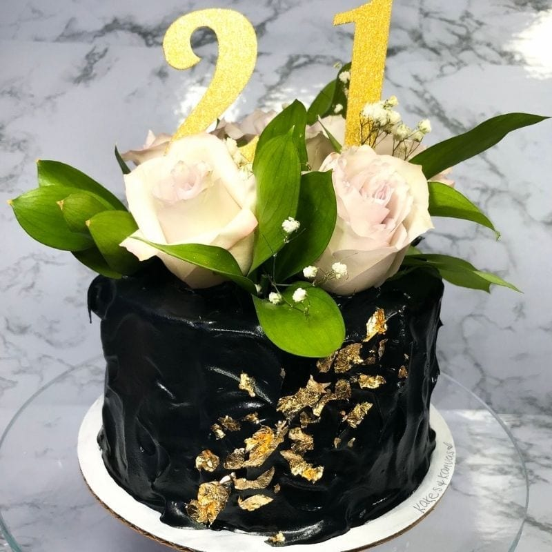 Floral cake birthday gold leaf flowers bakery calgary